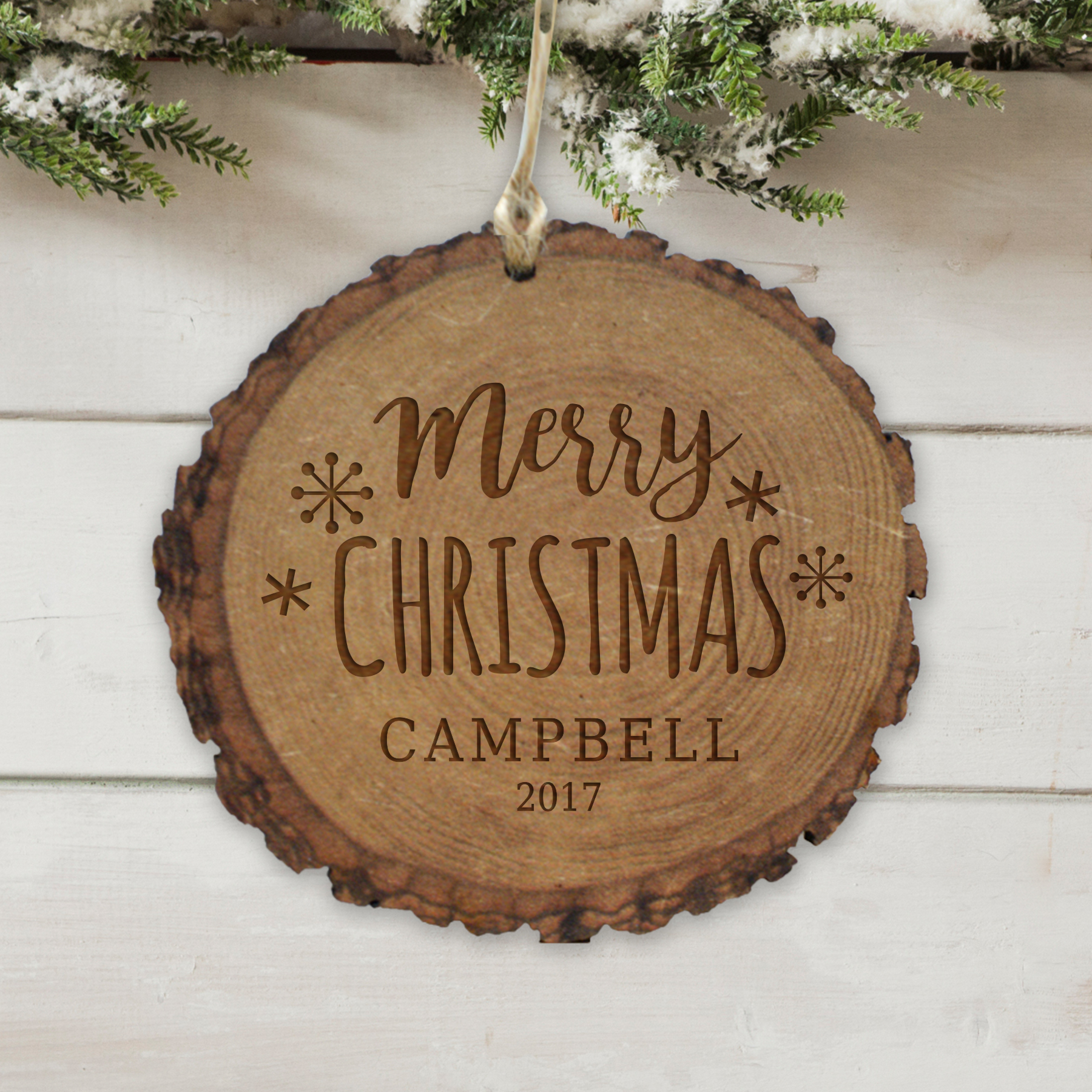 Engraved Merry Christmas Rustic Wood Ornament | Personalized Christmas Ornaments