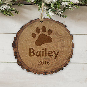 Engraved Paw Print Rustic Wood Ornament L10858166