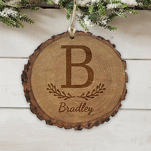 Engraved Family Initial Rustic Wood Ornament L10859166