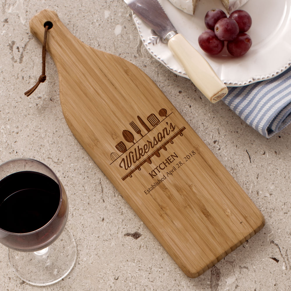 Engraved Utensils Large Wine Bottle Cutting Board L10979168X