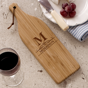 Engraved Initial Large Wine Bottle Cutting Board L10983168X