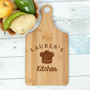 Engraved Chef Hat Paddle Cutting Board L10997188