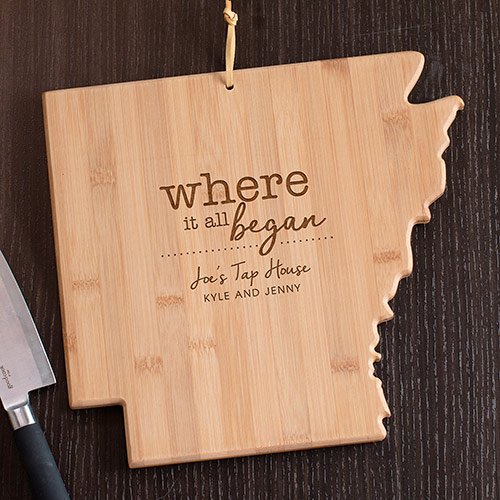 Engraved Where It All Began Arkansas State Cutting Board | Personalized Cutting Boards