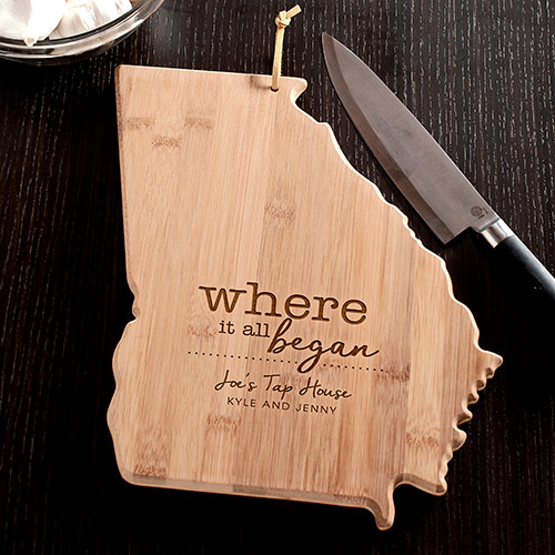 Engraved Where It All Began Georgia State Cutting Board | Personalized Cutting Boards