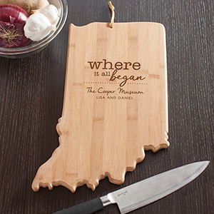 Engraved Where It All Began Indiana State Cutting Board L11009165IN