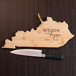 Engraved Where It All Began Kentucky State Cutting Board L11009165KY