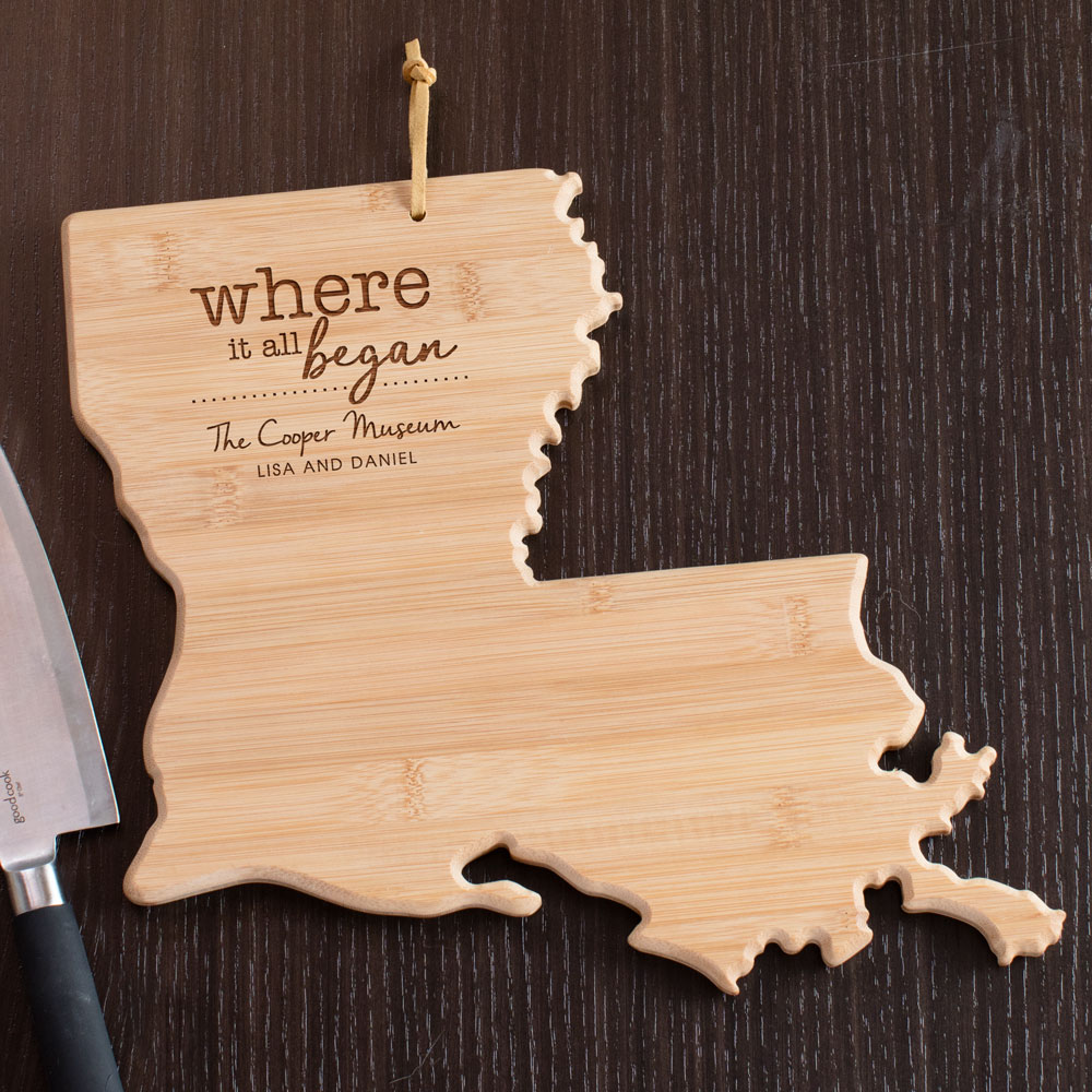 Engraved Where It All Began Louisiana State Cutting Board | Personalized Cutting Boards