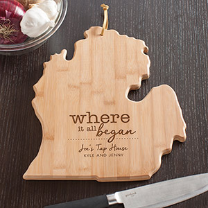 Engraved Where It All Began Michigan State Cutting Board | Personalized Cutting Board