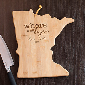 Engraved Where It All Began Minnesota State Cutting Board L11009165MN
