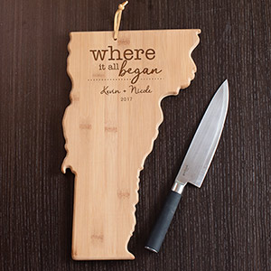 Engraved Where It All Began Vermont State Cutting Board L11009165VT