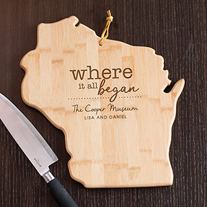 Engraved Where It All Began Wisconsin State Cutting Board L11009165WI