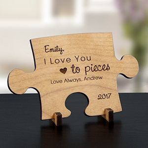 Engraved Love You To Pieces Wood Puzzle Piece