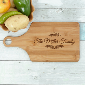 Engraved Family Name Paddle Cutting Board L11032188