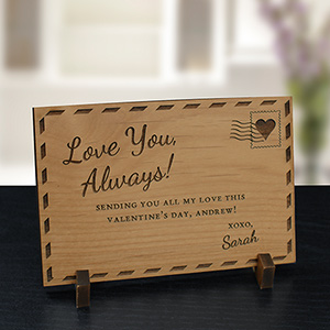 Engraved Love You Always Wood Postcard W110421