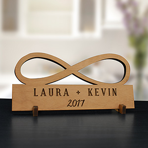 Engraved Infinity Wood Plaque