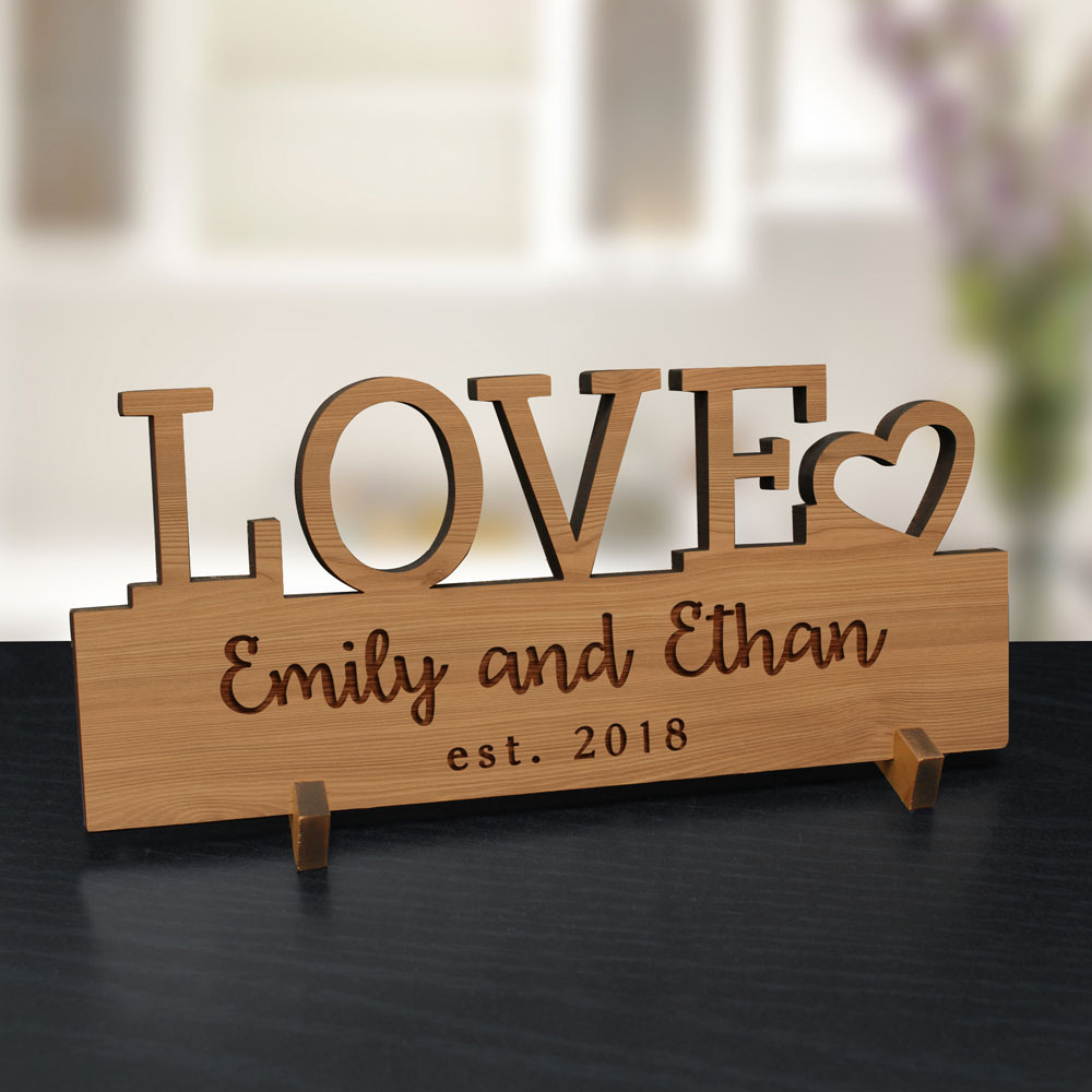 Engraved LOVE Wood Plaque | Customized Valentine's Day Gifts
