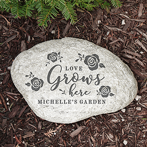 Engraved Love Grows Here Family Garden Stone | Personalized Housewarming Gifts