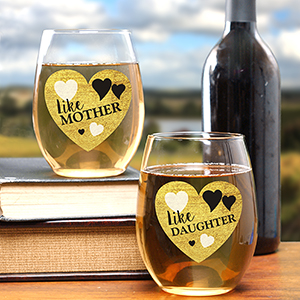 Personalized Like Mother Like Daughter Stemless Wins Glass Set | Mother's Day Cups