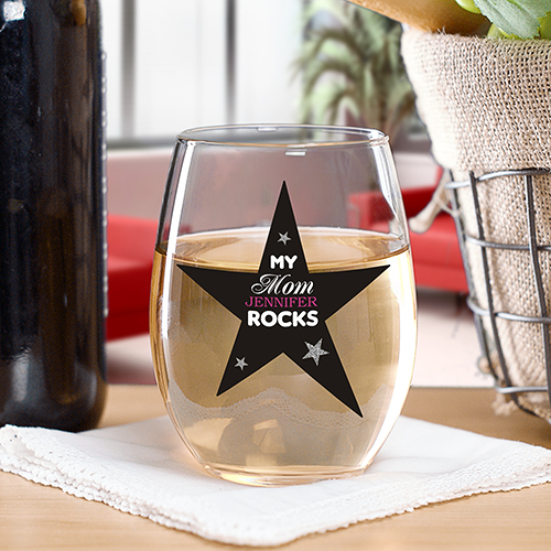 Personalized My Mom Rocks Stemless Wine Glass | Personalized Gifts For Mom