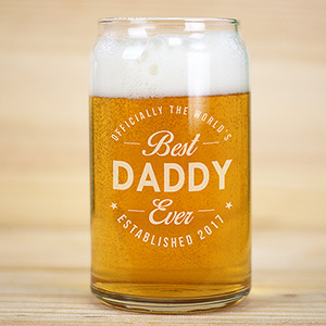 Engraved Best Ever Beer Can Glass