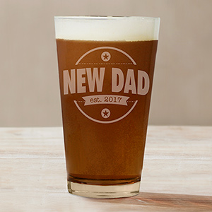 Engraved New Dad Beer Glass L11523142