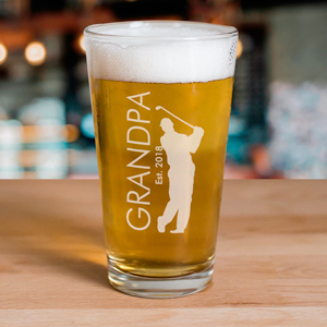 Engraved Golfer Beer Glass | Golfing Gifts