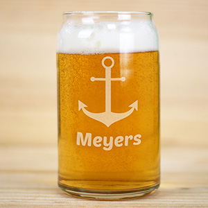 Engraved Anchor Beer Can Glass | Personalized Barware