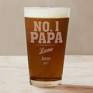 Engraved No. 1 Dad Beer Glass | Personalized Barware Gifts For Dad
