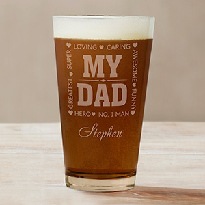Engraved My Hero Beer Glass | Bar Gifts For Dad