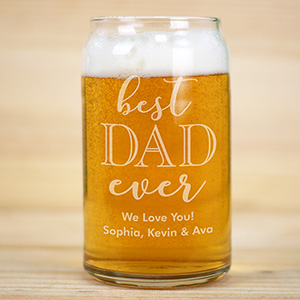Engraved Best Dad Ever Beer Can Glass | Gifts For Daddy