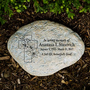 Personalized Floral Cross Memorial Garden Stone | Memorial Stones
