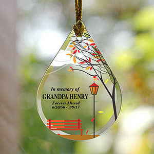 Personalized Empty Bench Memorial Tear Drop Glass Ornament | Memorial Ornaments