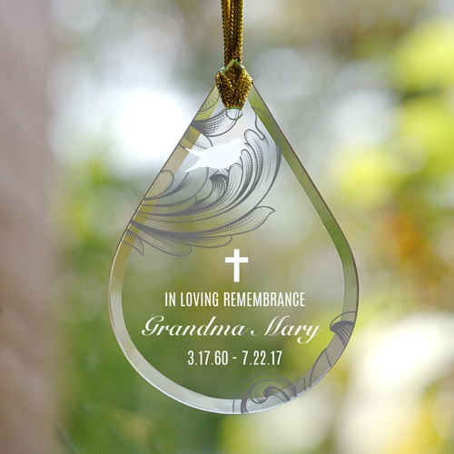 Personalized Floral Memorial Tear Drop Glass Ornament | Memorial Ornaments