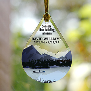 Personalized Fishing or Hunting Memorial Tear Drop Glass Ornament | Memorial Ornaments