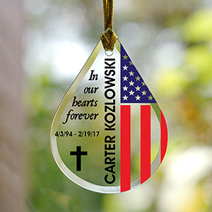 Personalized Flag Memorial Tear Drop Glass Ornament