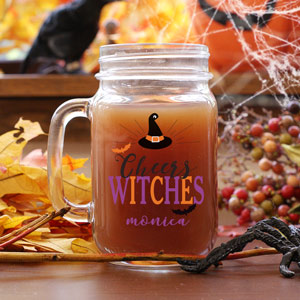 Personalized Cheers Witches Mason Jar | Personalized Mason Jar Mugs