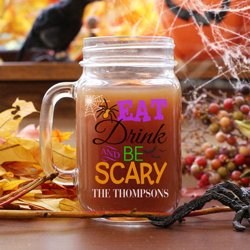 Personalized Eat, Drink and Be Scary Spider Mason Jar | Halloween Mason Jars