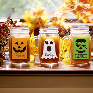 Personalized Halloween Character Mason Jar | Halloween Mason Jars