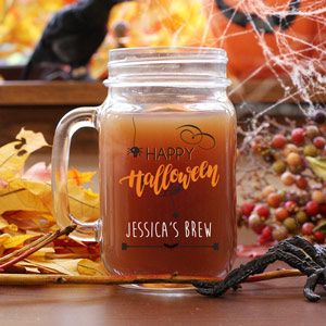 Personalized Happy Halloween Mason Jar | Personalized Mason Jar Mugs