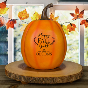 Personalized Happy Fall Y'all Large Pumpkin | Personalized Pumpkins