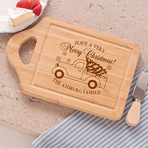 Engraved Merry Christmas Vintage Truck Cutting Board | Personalized Cutting Boards