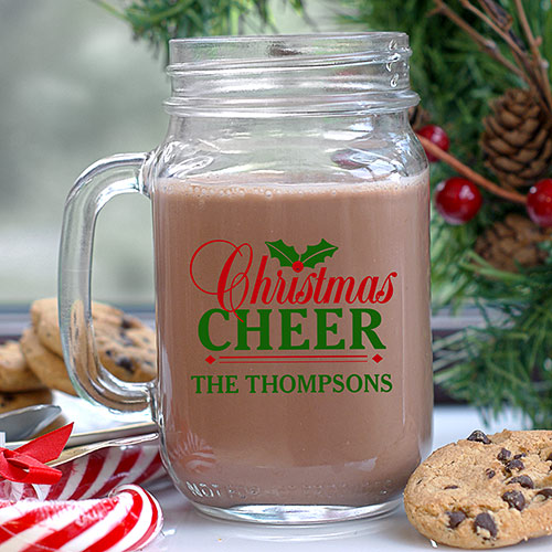 Personalized Christmas Cheer Mason Jar | Personalized Christmas Mugs