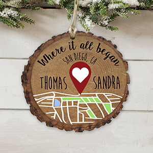 Personalized Where It All Began Wood Ornament | Personalized Couples Ornament
