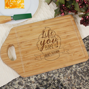 Engraved Life is What You Bake It Cutting Board | Personalized Cutting Boards