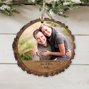 Personalized Our First Christmas Photo Wood Ornament | Personalized Couples Ornaments