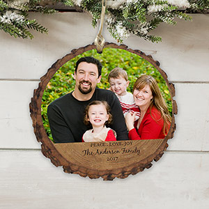 Personalized Peace Love Joy Photo Wood Ornament | Photo Ornaments