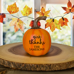 Engraved Give Thanks Small Pumpkin | Personalized Pumpkins