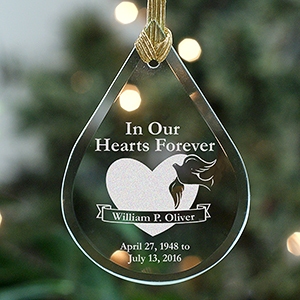 In Our Hearts Forever Tear Drop Glass Ornament L2070111