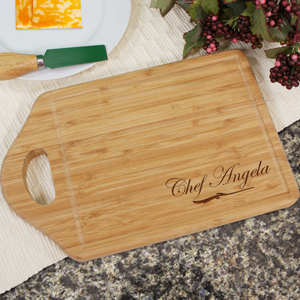 Engraved Bamboo Chef Cheese Carving Board | Personalized Cutting Board
