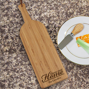 Engraved Bless Our Home Wine Bottle Cheese Board